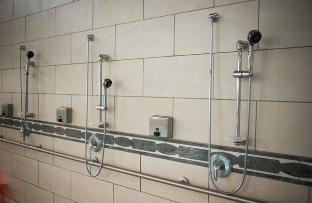 Commercial tile shower installation in Houston by Texas Floor Covering, Inc.