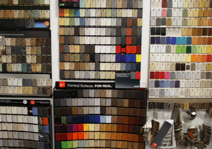 Laminate samples to coordinate with your floors in the Texas Floor Covering, Inc. showroom
