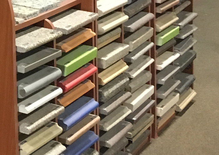 Granite and Silestone samples in the Texas Floor Covering, Inc. showroom