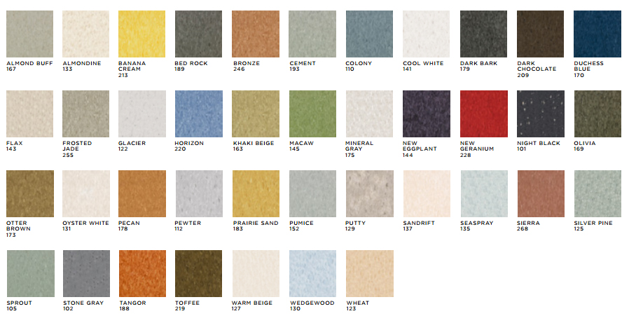 Building Standard - Mannington Vinyl Composition Tile (VCT) Colors
