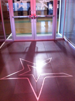 Ceramic tile logo installation at Minute Maid Park in Houston.